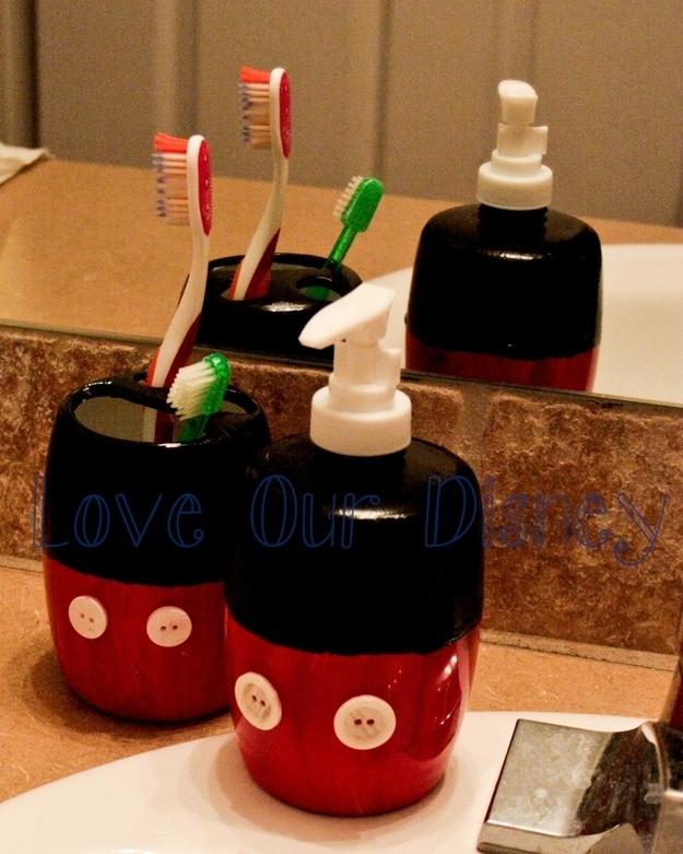 DIY Mickey MOuse Bathroom Supplies
